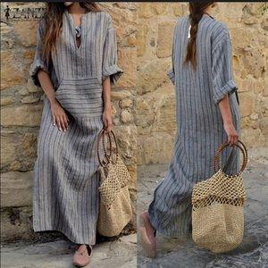 Grey Striped V-neck Linen Maxi Dress